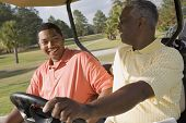 African father and adult son in golf cart poster