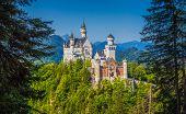 Famous Neuschwanstein Castle With Scenic Mountain Landscape Near Füssen, Bavaria, Germany poster