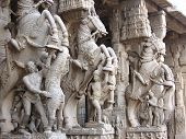 picture of trichy  - Classical Indian pillar Sculpture made out of granite stone depicting valour  - JPG