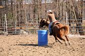 picture of barrel racing  - A young woman turns around a barrel and heads to the finish line - JPG