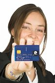Business Woman Holding Credit Card Up