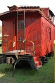 picture of caboose  - Rear view of a vintage red caboose - JPG