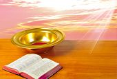 pic of tithe  - Offering plate on table with bible and bright background - JPG