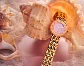 Gold Watch With Sea Shells Pink And Sand