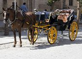 Horse And Cart In Seville. Tourist Attraction. poster