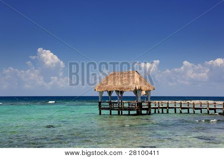 wooden dock at the caribbean sea at Yucatan Peninsula, Mexico