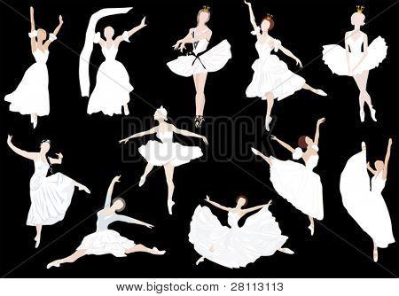 Ilustración con siluetas de bailarina de ballet