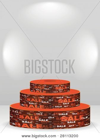 podium with sale text on it