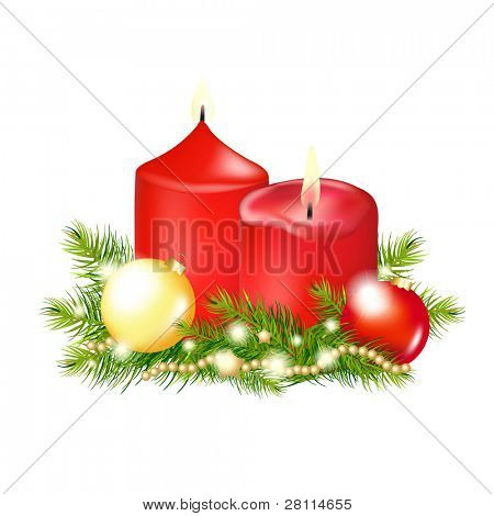 2 Red Christmas Candle, Isolated On White Background, Vector Illustration