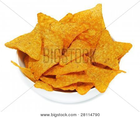 a bowl with nachos on a white background