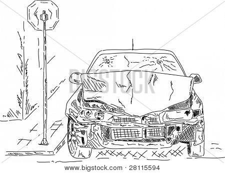 vector - wrecked car isolated on white , hand draw