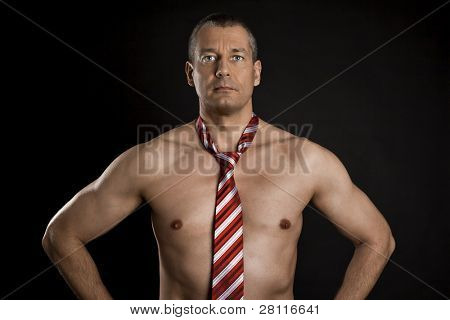 An image of a naked man with tie
