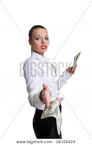 sexy business woman give a bank note with defiance