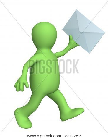 3D Person - Puppet, Running With The Letter In A Hand