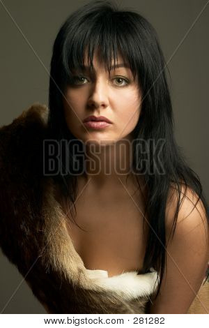 Attractive Woman With A Fell