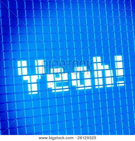 Pixel mesh lcd screen with Yeah