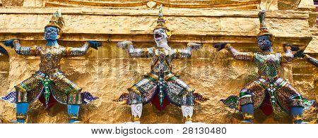 Giant Guardians On Base Of Pagoda, Thailand