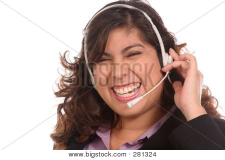 Girl In Headset Is Laughing At Request