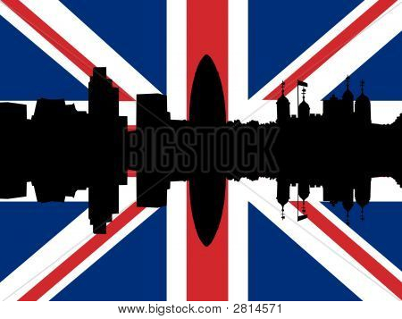 London Skyline With Flag