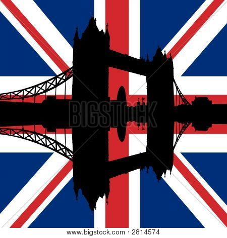 Tower Bridge With Flag