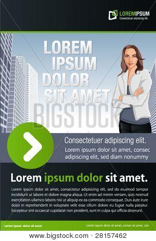 Plantilla verde y negra para el folleto de publicidad con la mujer en la ciudad