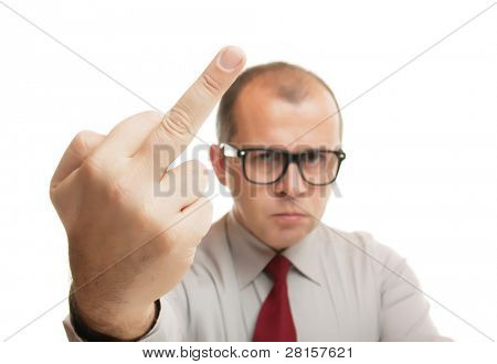 Man showing middle finger isolated on white background