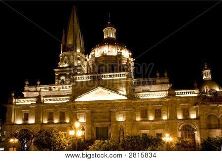Cathedral Of Guadalajara Mexico At Night