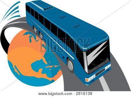 Bus Flying Out Of Globe