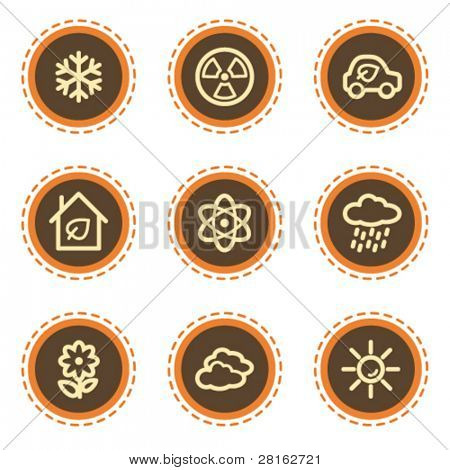 Ecology web icons set 2, vintage buttons