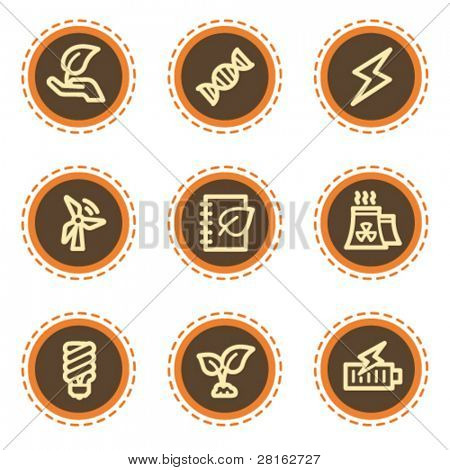 Ecology web icons set 5, vintage buttons