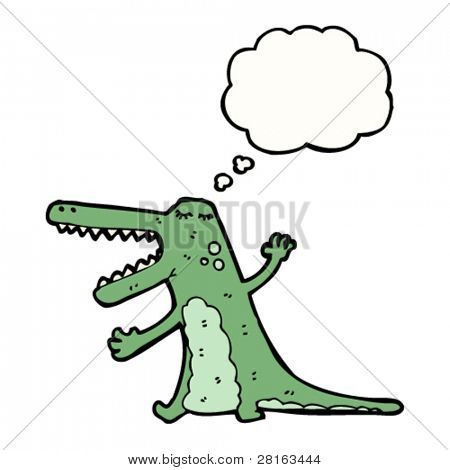 crocodile cartoon with thought bubble