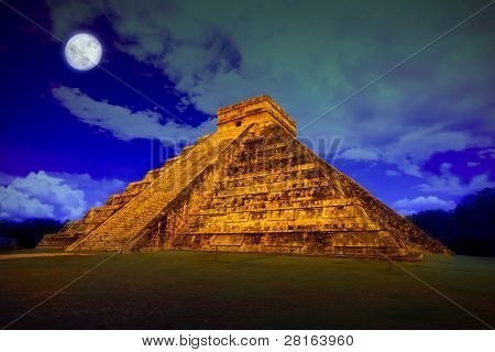 The pyramid of Kukulcan at Chichen Itza at full moon