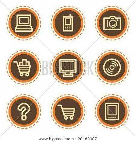 Electronics web icons set 1, vintage buttons