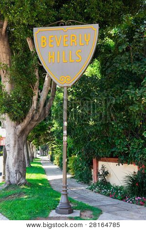 BEVERLY HILLS - SEPT 6: The Beverly Hills City Limits Sign along Santa Monica Boulevard on Sept 6, 2011 in Beverly Hills, California.