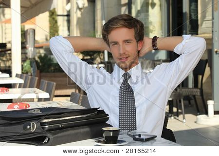 Businessman having a coffee