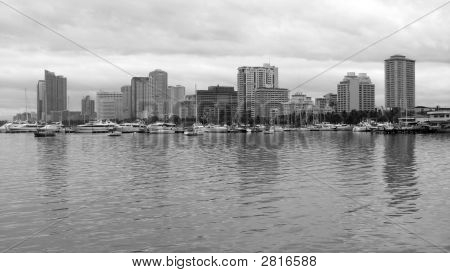 Manila Bay Skyline In Black And White