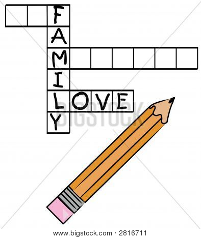 Pencil Doing Crossword Family Love Letters Only