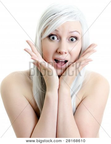Closeup Portrait Of Surprised Attractive Girl Isolated On White Background