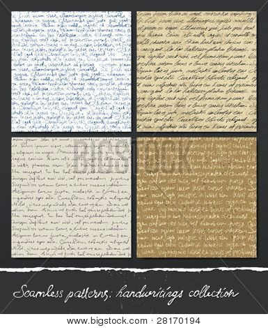 Seamless pattern: Handwritings collection. Abstract unreadable text (Lorem Ipsum). Editable vector, EPS10.