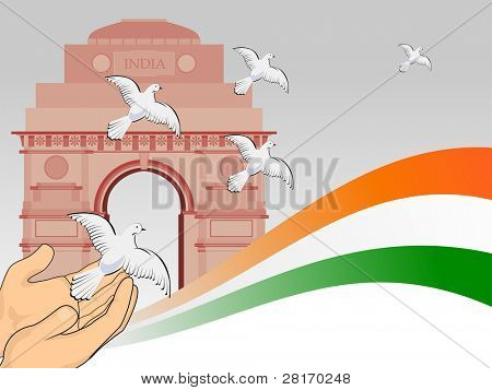 A scene of republic day with flying pigeon in front of India get and National Flag for Republic Day.