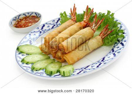 popia goong thod, thai cuisine, fried shrimp spring rolls