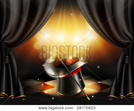 Magic tricks, vector background