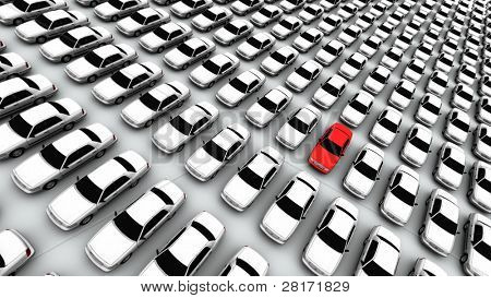 Hunderte von Autos, rot!