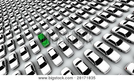 Hundreds of generic cars, one green