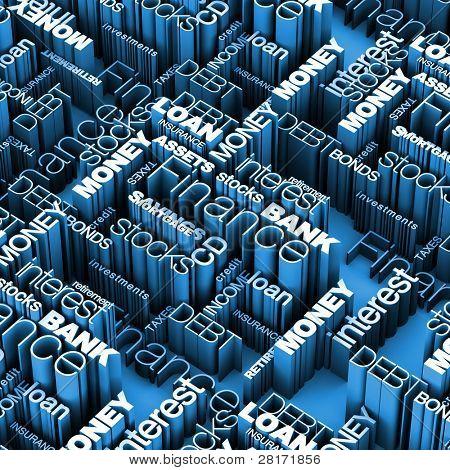 Financial Words 3D Blue