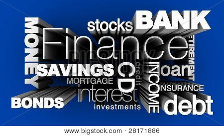 Financial words on blue background.