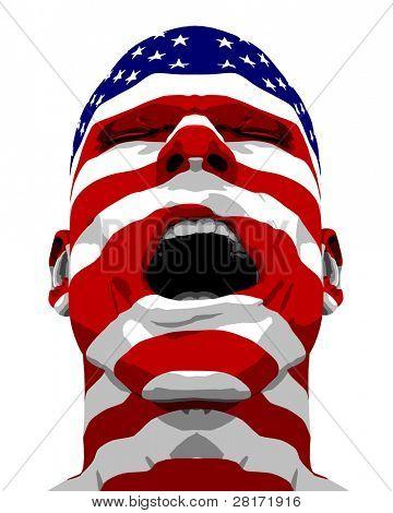 Bandera USA textura a hombre gritando