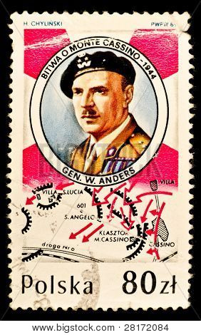 POLAND -CIRCA 1989: A stamp printed in Poland shows Lieutenant-General Wadysaw Anders who was a General in the Polish Army and later in life a politician with the Polish government-in-exile in London, circa 1989.