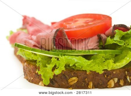 Roast Beef Sandwich Isolated On White Close Up #3