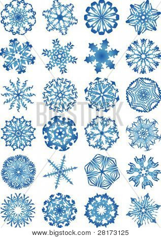 Snowflakes vectors icon set and design elements. Fully editable, easy color change.